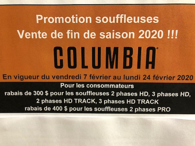 Promotion Souffleuse Columbia